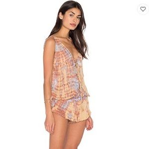 Tiare Hawaii neutral tie-dye romper from Revolve